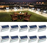 ROSHWEY 10 Pack Solar Deck Lights, 30 LED Outdoor Fence Solar Lights Waterproof Stainless Steel Lamps Security Lights for Garden Fence Step Patio Pathway Walkway(Cool White Light)