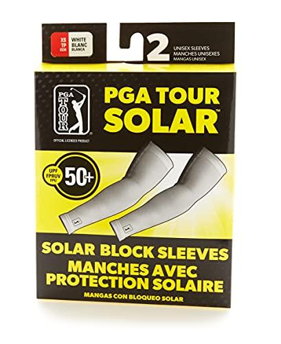 PGA TOUR - Mangas de golf con bloque solar, 2 unidades, color blanco brillante, medio/grande