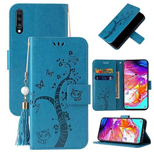 Miagon Brieftasche Flip Hülle für Samsung Galaxy A30S,Schön Schmetterling Baum Katze Design PU Leder Buch Stil Stand Funktion Handyhülle Case Cover,Blau