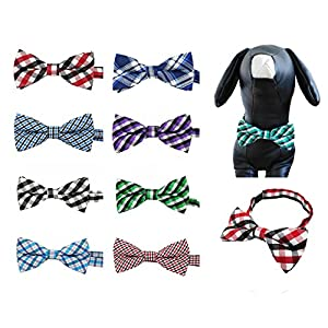 PET SHOW Plaid Dog Bow Ties Adjustable Bowties for Small Medium Large Dogs Puppy Cats Party Collar Neckties Customes Grooming Accessories Pack of 8