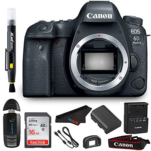 Canon EOS 6D Mark II DSLR Camera (Body) + Pixi Bundle