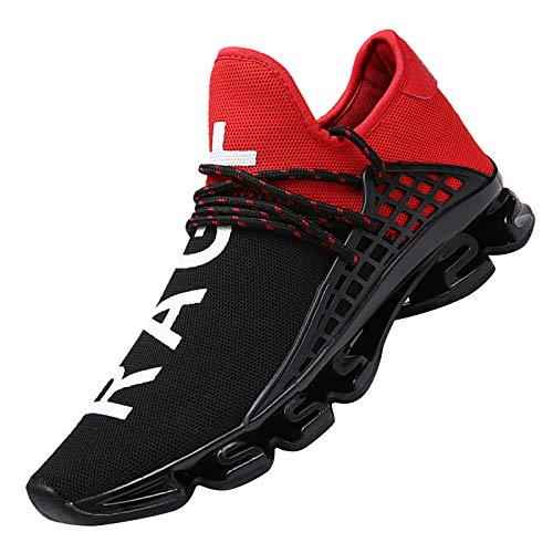 DUORO Men's Running Shoes Women's Casual Sneakers Breathable Mesh Slip on Blade Athletic Lightweight Tennis Sports Shoe for Men (9 US/260mm, Red)