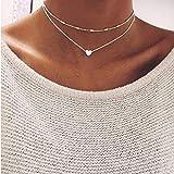 PiniceCore Nueva joyería de Plata del Color del Amor del corazón Collares y Colgantes de Cadena Doble Collar de Regalo Gargantilla Mujer Joyería