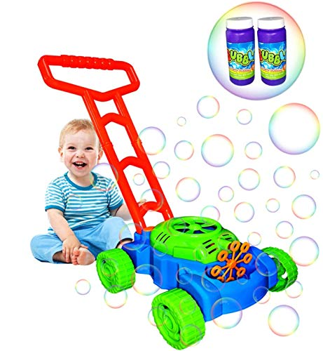 GUORUI Automatic Bubble Mower for Toddlers, Kids Outdoor Push Toys Bubble Blower Machine Lawn Games Gift Electronic Bubbles Maker Gardening Toy with 2 Bottles Solutions