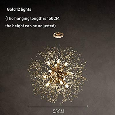 Modern Chandeliers Firework LED Light Chrome Pentant Lighting Ceiling Light Fixtures Chandeliers Lighting, for Living Room Bedroom Restaurant Hallway (Color : Gold 12 Lights)