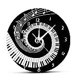 BYFRI Reloj De Pared Elegante Piano Cierra Y Moderno Notas Wave Ronda Teclado del Reloj De Pared del Amante Pianista Regalo