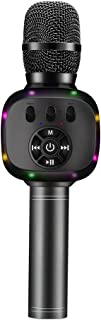 BONAOK Upgraded Wireless Bluetooth Karaoke Microphone with Dual Sing, LED Lights, Portable Handheld Mic Speaker Machine Valentine's Gift for iPhone/Android/PC/Outdoor/Birthday/Home/Party (Space Grey)