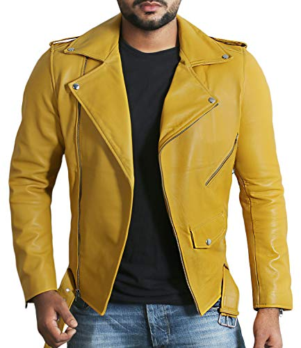 Laverapelle Men's Genuine Lambskin Leather Jacket (Yellow, 3XL, Cotton Lining) - 1501532