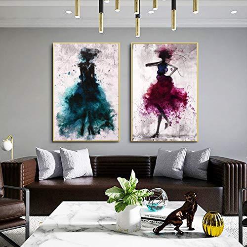 ganlanshu Moderne abstrakte Aquarellporträtölgemäldeplakatkunst auf Buntem Leinwandmädchen,Rahmenlose Malerei,60X90cmx2