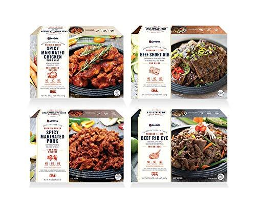 Premium Sliced Beef Rib Eye, Short Rib, Chicken, Pork for Bulgogi & Galbi Korean Barbecue (4 Pack Bundle)