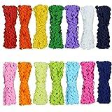 80 Yards Wave Bending Fringe Trim, Fengek 5mm Sewing Ribbon for Cloth Dress DIY Making Decorating, 14 Colors