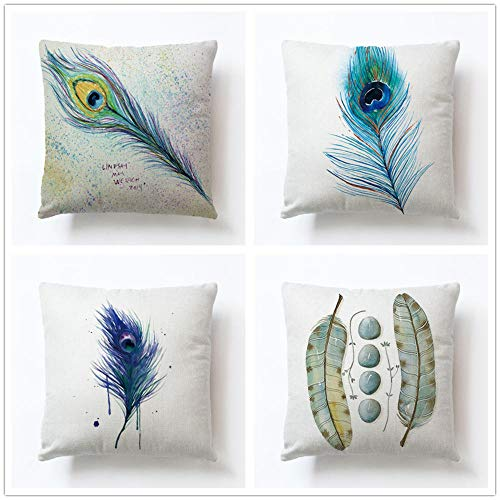 ZYFSKR Cotton Linen Pillow Covers Pillow Covers Case Square Pillowcase Peacock Hand-Painted Feather Cushion Cover For Home Office Sofa Couch Car 4 Pcs 45X45Cm