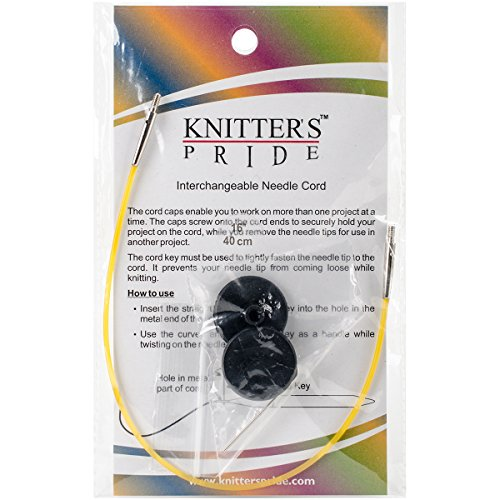 Knitter's Pride Interchangeable Cords, 8-Inch (20cm to make 40cm / 16'-Inch IC needle) - Yellow