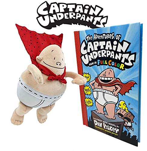 All7s The Adventures of Captain Underpants First Book and Captain Underpants Soft Superhero Plush by MerryMakers from The Bestselling Comic Book Series by Dav Pilkey