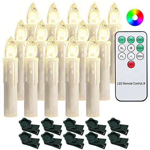 Hengda 30er LED Weihnachtskerzen Dimmbar Kerzen Lichterkette Beleuchtung RGB Bunt Weihnachtsbaumkerzen Flammenlose Kerzenlichter für Weihnachtsdeko