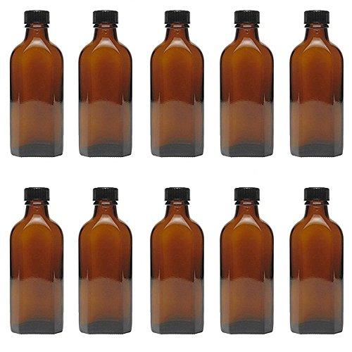Viva-Haushaltswaren 10 Medizinflasche in Braunglas Apothekerflaschen inkl. Etiketten a 100ml