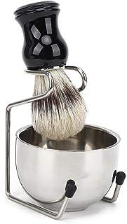 Scheerset, 3-delige baardborstel, scheermeskom en -standaard, professionele baardverzorgingsset voor mannen