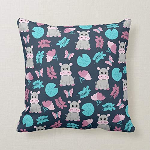 Cute Pink Teal Hippo Floral Butterfly Lily Pad Canvas Throw Pillow, Home Sofa Couch 18x18 Inches