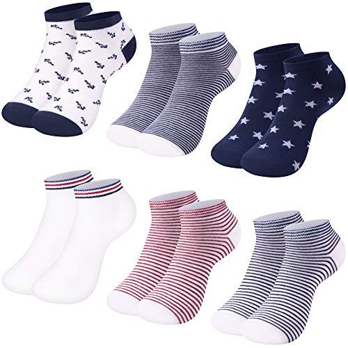 LundK-II 12 Paar Damen Sneaker Socken Mädchen Füßlinge Baumwolle mit Ringel Punkte Muster 2126 35-38