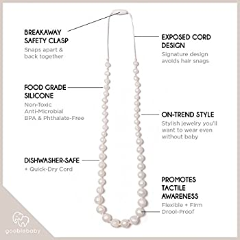 Goobie Baby Audrey Silicone Teething Necklace for Mom to Wear, Nursing Necklace Chew Bead (Teething Necklace – Pearl)