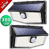 300 LED Solarlampen für außen【Deluxe Version】, LITOM solarleuchten für außen, solarlampen für außen mit bewegungsmelder, 270°Beleuchtungswinkel, 3 Modi,IP67 Wasserdicht,einfache Motage (2 Stück)