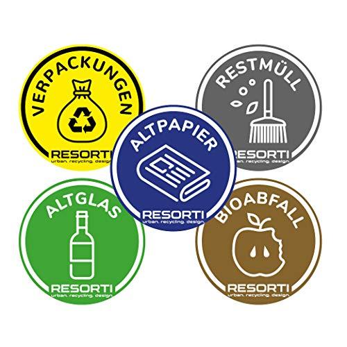 RESORTI Aufkleber 5er SET für Mülltrennung, Mülleimer, Abfalltrennsystem farbig (Verpackungen/Gelber Sack, Restmüll, Alt-Papier, Biomüll, Alt-glas) UV-Beständig und Wetterfest