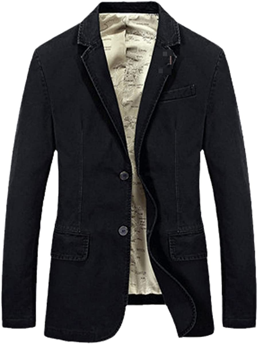 DFLYHLH Casual Men's Suit Jacket Denim Slim Jacket