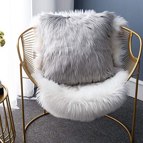 LIGICKY - Funda de almohada de piel sintética suave, cuadrada, decorativa, para sofá, cama, 45 x 45 cm, color gris