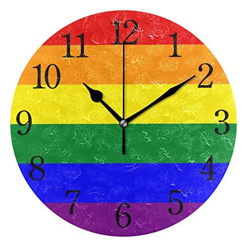 BKEOY Wanduhr mit Regenbogen-Flaggen-Motiv, geräuschlos, nicht tickend, Heimdekoration
