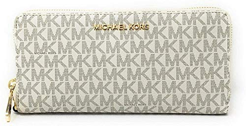 Michael Kors Jet Set Travel Continental Zip Around Leather Wallet Wristlet (Vanilla/Dark Acorn)