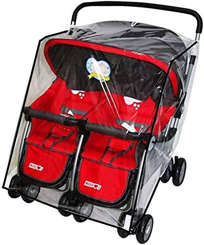 Side by Side Stroller Rain Cover Waterproof Windproof Dustproof Twins Pushchair Pram Raincoat Transparent Wind Shield Baby Carriage Double Carrycots Raincover Buggy Stroller Protector Accessories