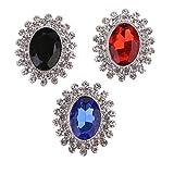 Non-brand 3 Colores Botones de Diamantes de Imitación Ovalados Parte Posterior Plana Apliques de Cristal Adorno Artesanal para Prendas de Boda Accesorios para E