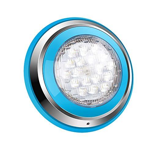 Roleadro 54W Weiß LED Poolbeleuchtung IP68 Edelstahl Schale,Unterwasser Led Pool für Schwimmbad ersatz Halogen Scheinwerfer [DC/AC 12V-24V]