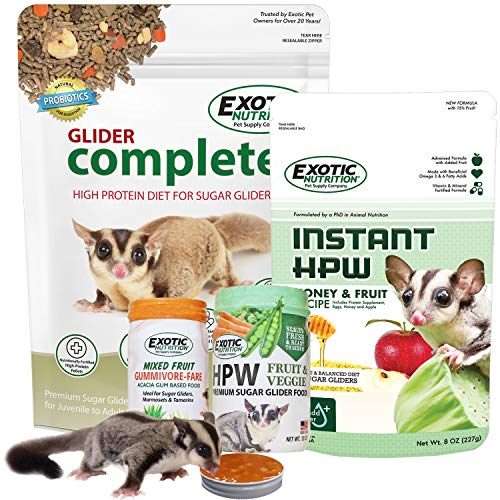 Sugar Glider Superior Food Starter Package - Nutritionally Complete Pellet Food - High Protein Supplemental Food - Acacia Gum-Based Treats - Moist Insectivore Diet