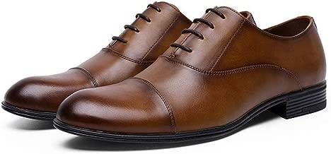YINJIESHANGMAO أكسفورد حذاء رسمي للرجال خياطة دانتيل ونعل مطاطي مانع للانزلاق على شكل أصابع القدم سلسلة مصقولة