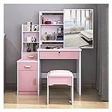 WYFDC Tocador Muebles Dormitorio Escritorio Espejo Escritorio Dormitorio Espejo Mueble Silla Teladores Altos para Dormitorio, Vanity Set Maquillaje (Color : 968 Pink as Show)
