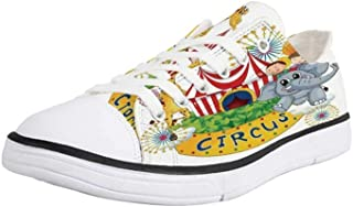 K0k2t0 Canvas Sneaker Low Top Shoes,Circus Decor,Circus Show with Kids and Animals Smiling Magician Children Happiness Decorative