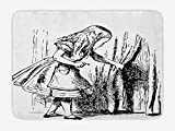 Ambesonne Alice in Wonderland Bath Mat, Black and White Alice Looking Through Curtains Hidden Door Adventure, Plush Bathroom Decor Mat with Non Slip Backing, 29.5' X 17.5', Black and White