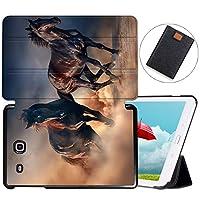 MAITTAO Galaxy Tab E 9.6 Case 2015 SM-T560/T561/T565/T567V, Slim Stand Folio Cover For Samsung Tab E Wi-Fi/Tab E Nook/Tab E Verizon 9.6-Inch Tablet Sleeve Bag 2 in 1 Bundle, Akhal-Teke Horse 9