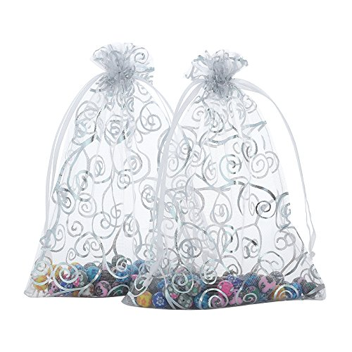 "Anleolife 50pcs Sheer Organza Wedding Holidays Favor Bags Shower 6""x8"" Bottle Cookies Candy Lipstick Gift Bags Party Packages Pouches(transparrent)"