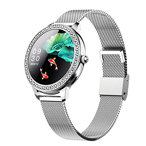 Gulu 2021 Mujeres Smart Watch SN91 A Prueba de Agua Bluetooth Sport Reloj de Ritmo cardíaco Presión Arterial Fitness Tracker para Android iOS,Plata