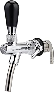 Ferroday Stainless Steel Draft Beer Faucet 5/16 Barbed Fitting End, 2.3 inch Short Shank (Adjustable Faucet)
