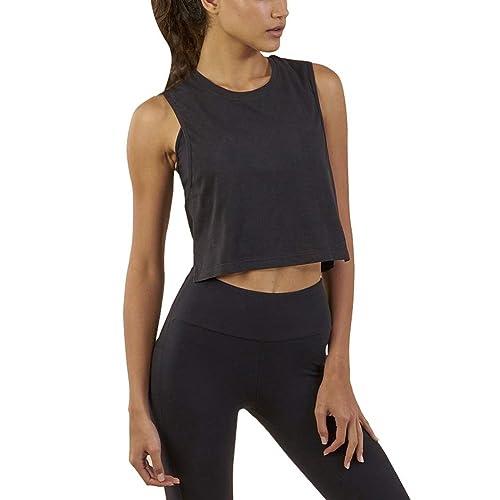 912f97f0c9db0d Mippo Women s Mesh Crop Top Sleeveless Racerback Workout Gym Shirt Loose  Athletic Tank