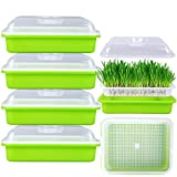 FiGoal 4 Pack Sprout Tray with Cover Soil-Free Seeds Grower and Storage Trays for Garden Home Kitchen Use (Zero Experience Needed)