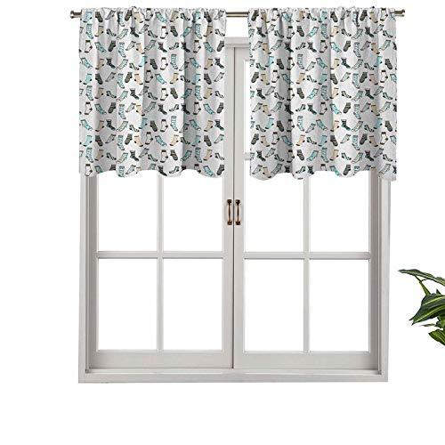 Hiiiman - Cortina de cortina con bolsillo para barra, diseño de ropa para adolescentes y niños, juego de 1 unidad, 127 x 45 cm para decoración de interiores