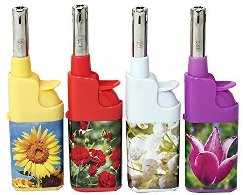 Fzg Stabfeuerzeug 10,5cm Blumen farbig 4er Pack Leichtbedienung Seniorengerecht Anzünder BBQ