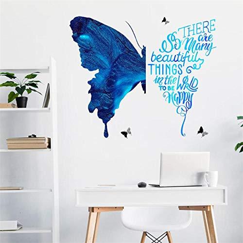 3D Blue Fantasy Butterfly Wall Sticker Bedroom Living Room Wall Decoration Door Sticker Modern Art Mural