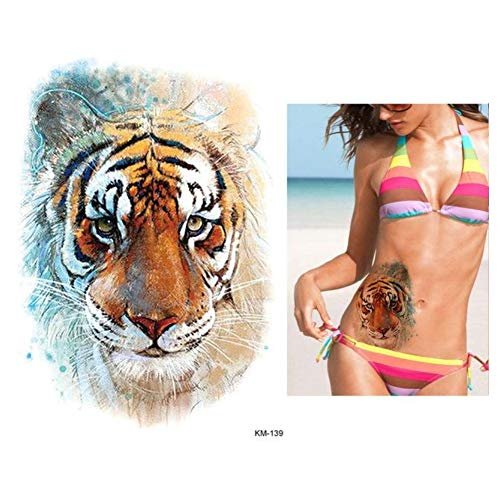 lecoolz Temporäres Tattoo Tiger Bunt Design Temporary Klebetattoo Körperkunst