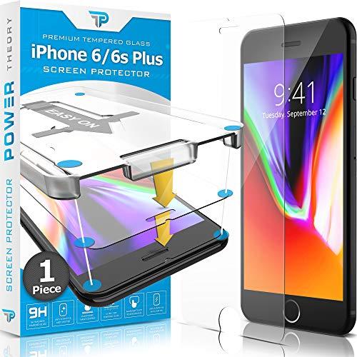 Power Theory Panzerglas kompatibel mit iPhone 6s Plus und 6 Plus - Schutzfolie mit Schablone, Panzerglasfolie, Panzerfolie, Glas Folie, Bildschirmschutzfolie, Schutzglas