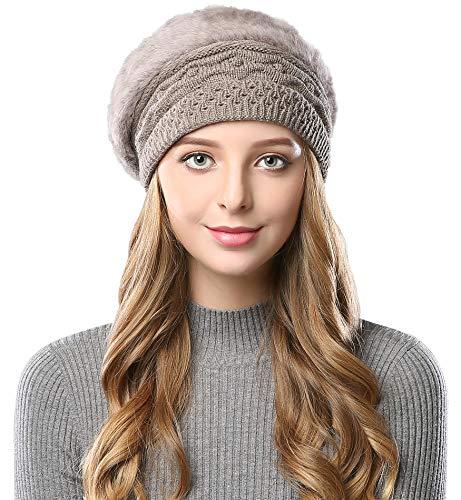 Alleza Boinas Francesa Sombreros de Mujer Lana Vintage Fiesta Invierno Gorro Caliente Beret Francés Beanie Cozy Forro Polar